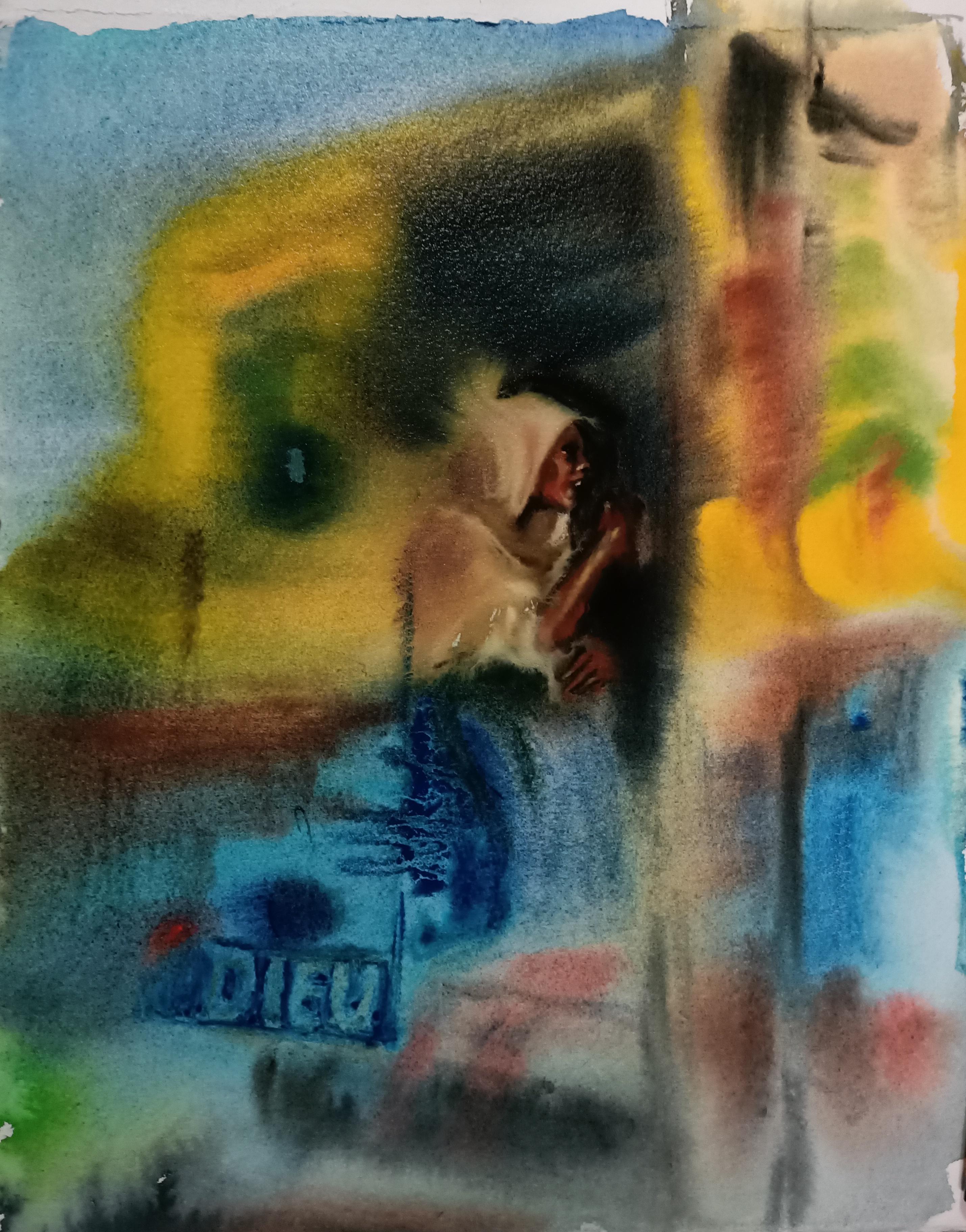 Jumala ja paikallisbussi, akvarelli, 2019
